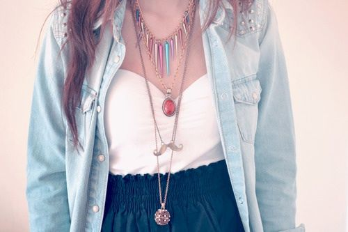 Bustiers + denim top + skirts