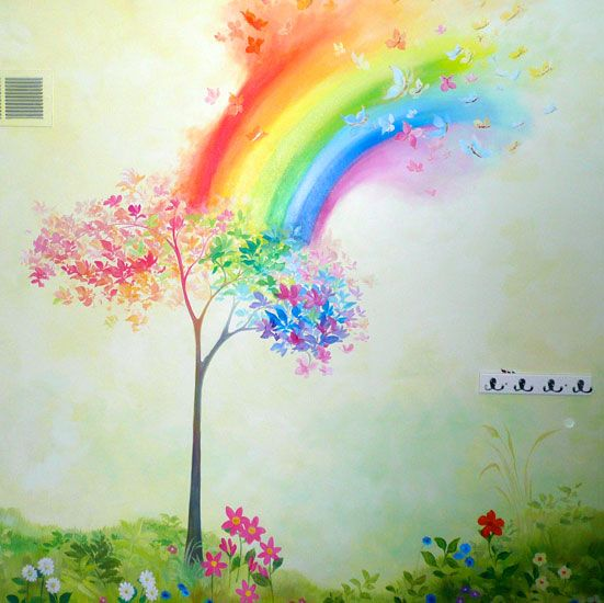 Rainbow room rainbows and murals on pinterest for Rainbow wallpaper for kids room