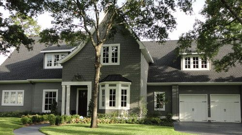 This home was painted in benjamin moore 39 s amherst gray wall colors pinterest gray for Benjamin moore nantucket gray exterior