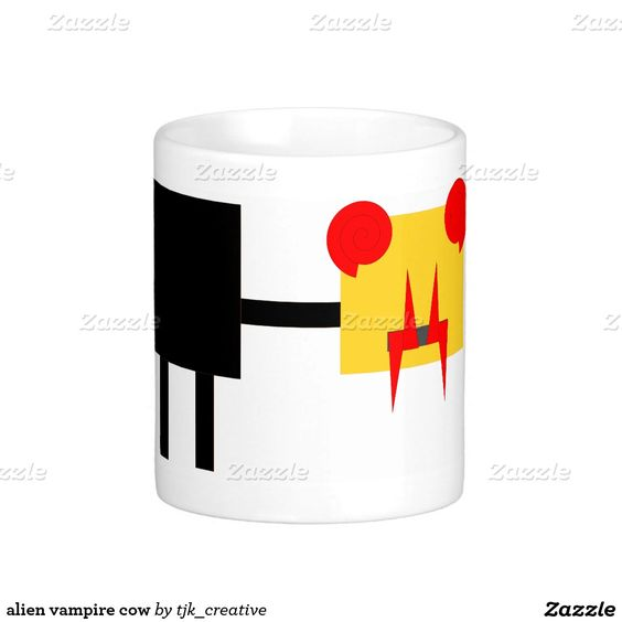 alien vampire cow coffee mug