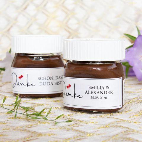 Gastgeschenk Mini Nutella Glas Mit Aufkleber Danke Kalligrafie In 2020 Nutella Produkte Mini Nutella Glas Und Gastgeschenke Hochzeit