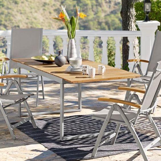 Outdoor Tisch Capri Ausziehbar Akazienholz Aluminium B150 X T90 X H74 Cm Outdoor Tisch Aussenmobel Akazienholz