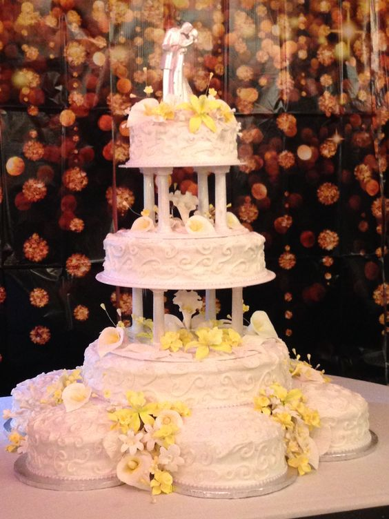 Wedding cake with gum paste flowers.