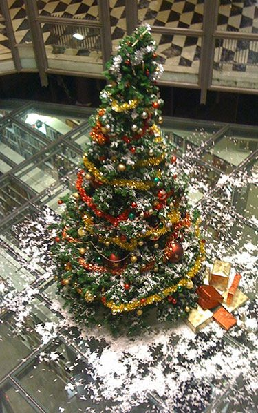 Christmas tree in UCL SSEES library, London