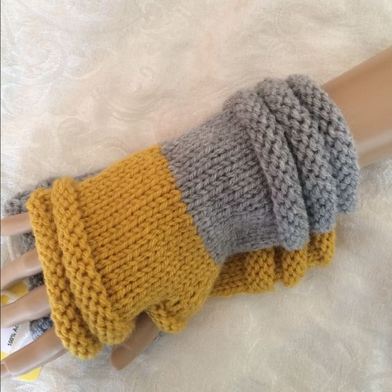 Gray and Mustard Rolled Cuff Hand Knit Mittens Rolled cuff details. Soft washable acrylic. Sold for charity❤️ Hand Knit Accessories Gloves & Mittens
