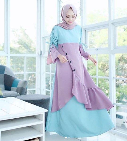 Model Baju Gamis Remaja Kekinian Modern Simpel Kancing Pinggir Rok Tumpuk Soft Blue Lavender Informasi Ti Model Baju Wanita Pakaian Pesta Model Pakaian Muslim