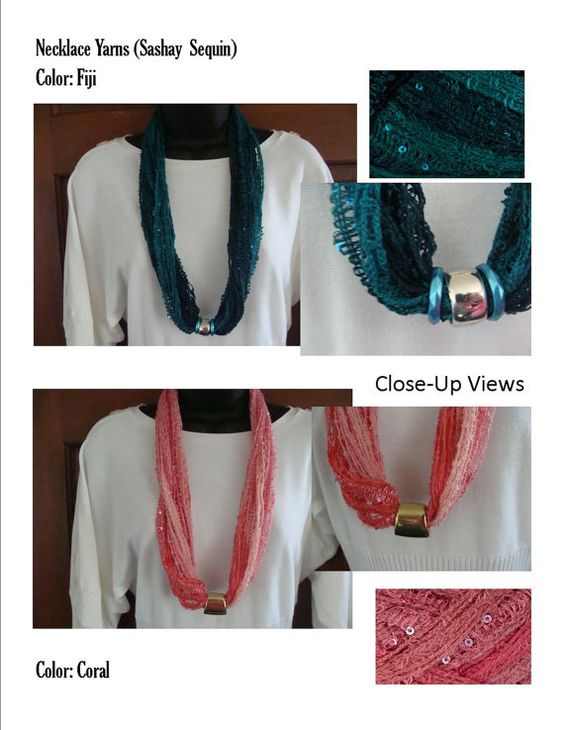 Necklace Sashay Sequins Yarn with Magnetic Clasps by KneckKnots