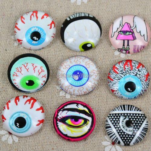 Mix Glass Dome Cabochon Flatback Lucy Eye Pattern Round Finding 20mm | eBay