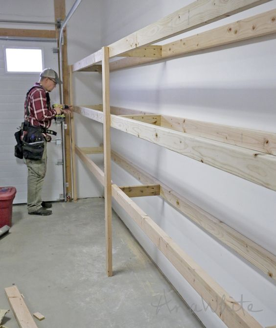 Ana White   Build a Easy and Fast DIY Garage or Basement Shelving for Tote Storage   Free and Easy DIY Project and Furniture Plans #woodworking