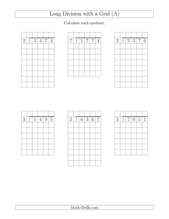 Division Worksheets division worksheets with grids : Math, Math worksheets and Division on Pinterest