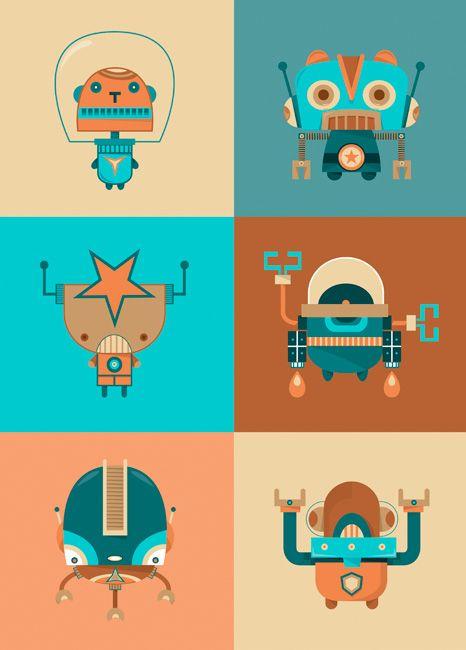 projet robot affiche moderne papiers espace carte enfants le robots enfants robots robots spatiaux trangers - Affiche Garcon Robot