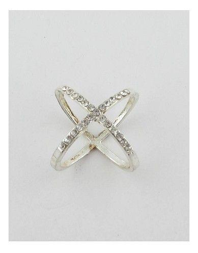 Rhinestone criss cross X ring-id.27618