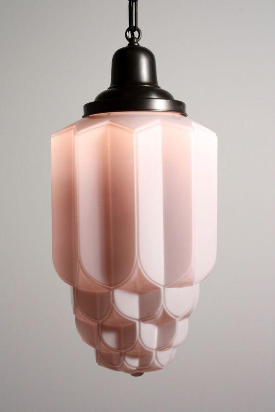 Art Deco light fixture -- it's pink!!