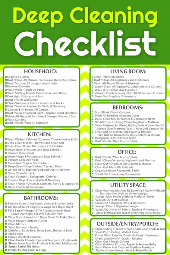 Free Cleaning Checklist Printable - Free deep cleaning checklist to print to help you deep clean your home (perfect for Spring Cleaning too!)
