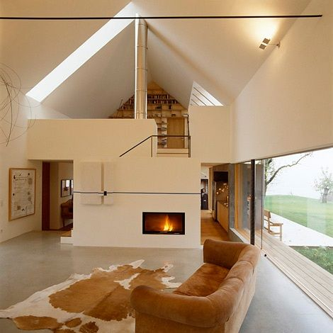 Double height living room gabled roof farm house design for Room design roof