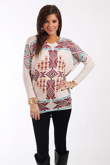 """Desert Sunrise Tunic, Oatmeal $37.00  You won't believe how soft this sweater is! The colors are beautiful and the hi lo hemline and slightly loose fit are right on trend, and we love tribal prints. Throw this on with a tank and your skinnies and you're set for anything!   Fits true to size. Miranda is wearing a small.   From shoulder to hem:  Small - 28""""  Medium - 29""""  Large - 30"""""""