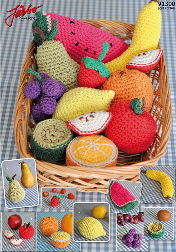 People could have a fake fruit bowl with these!  Amigurumi Fruit--Free Crochet Play Food Fruit Pattern, has banana, orange, apple, kiwi, pear, grapes, lemon, and watermelon. Pattern is in Swedish