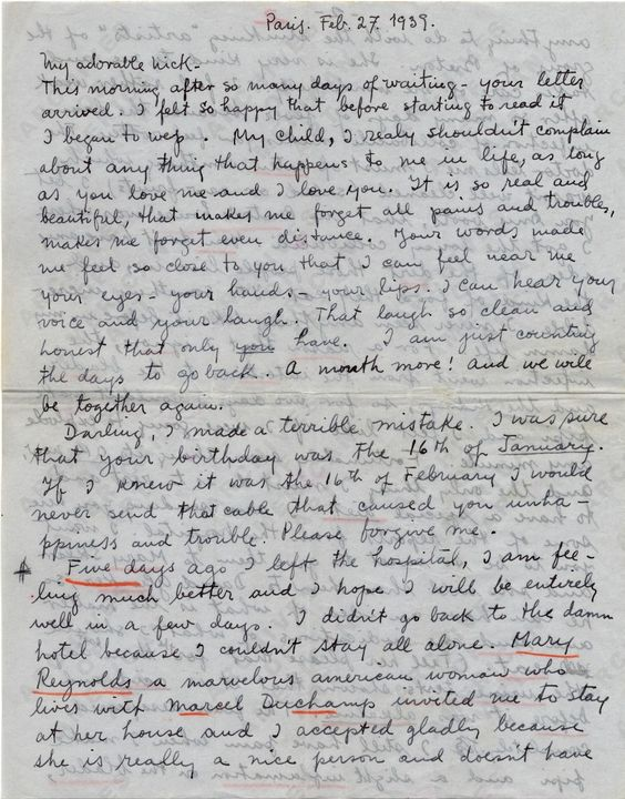 love letter from frida kahlo to nickolas muray, feb 27th 1939.