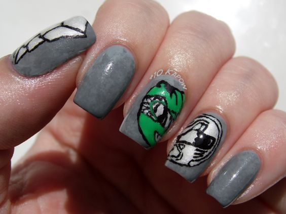 Green Power Ranger Nails, inspired by the awesome tee from the May Loot Crate.  #lootcrate #powerrangers
