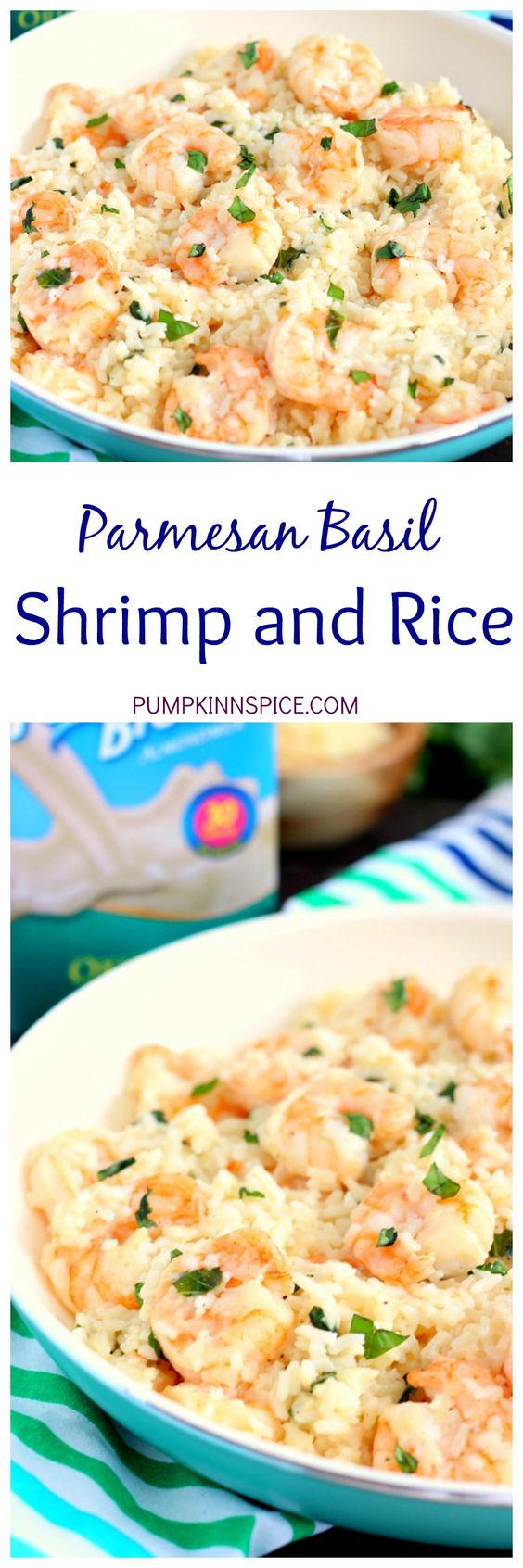 Parmesan Basil Shrimp and Rice is packed with tender shrimp and