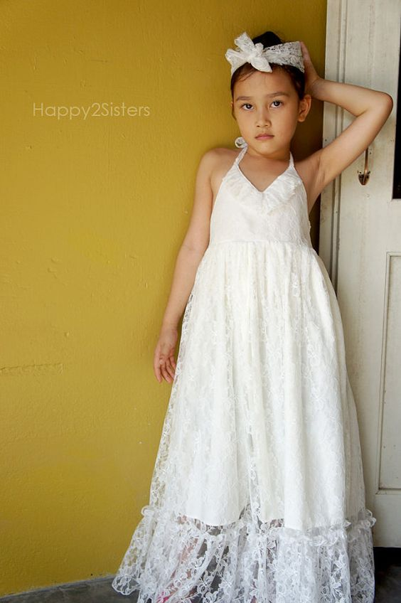 Lace flower girl dress Ivory flower girl dress by Happy2sisters