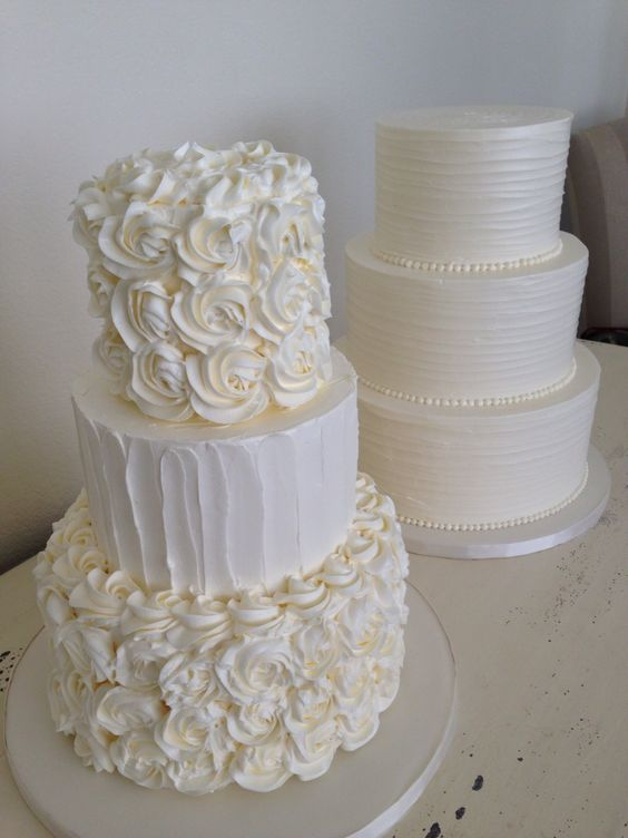 Rosette and swirled butter cream cakes