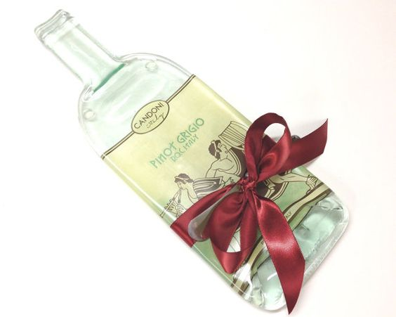Pinot Grigio Cheese Board Melted Bottle by MitchellGlassworks