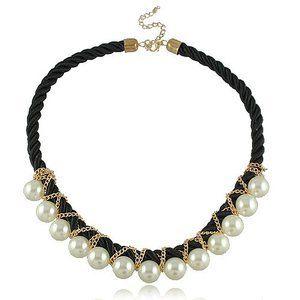gewebter Strick Alltag Halskette elegante mit Synthetischen Perlen