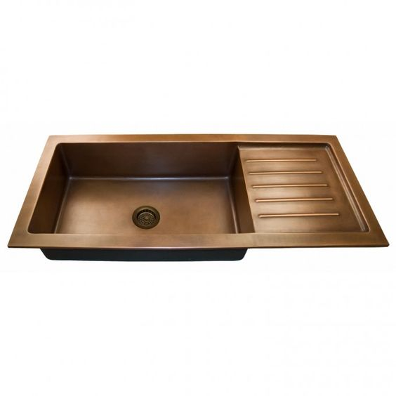 Copper Undermount Sink with Drain Board - Flat Rim