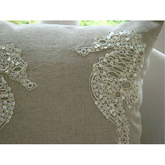 Sea Horse Pearls Throw Pillow Covers 18x18 by TheHomeCentric