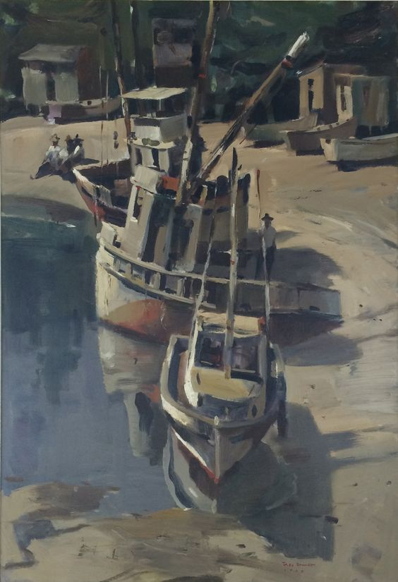"American Legacy Fine Arts presents ""Beached Boats"" a painting by Rex Brandt."