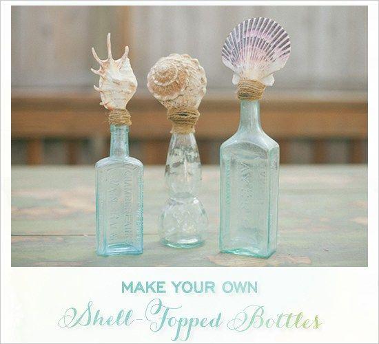 DIY Shell Topped Bottles