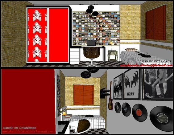Um quarto aparentemente sem espaço para nada ou pelo menos só para a cama e o armário, (rsrs) torna-se um quarto do rock! O cliente tem uma coleção de CD's de rock, guitarras, algumas relíqueas... Onde colocar tudo isso? Sempre há um jeito!  Projeto da designer Ana Paula Oliveira.