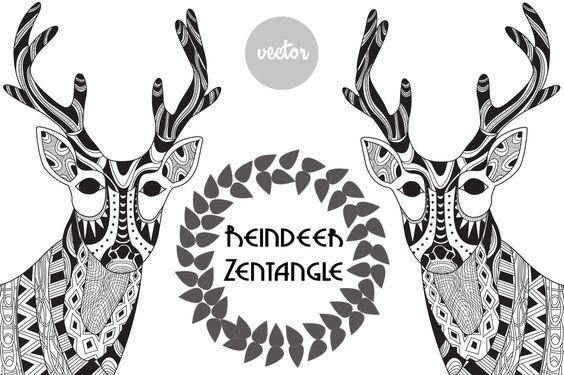 Reindeer Zentangle by LidiaP on Creative Market
