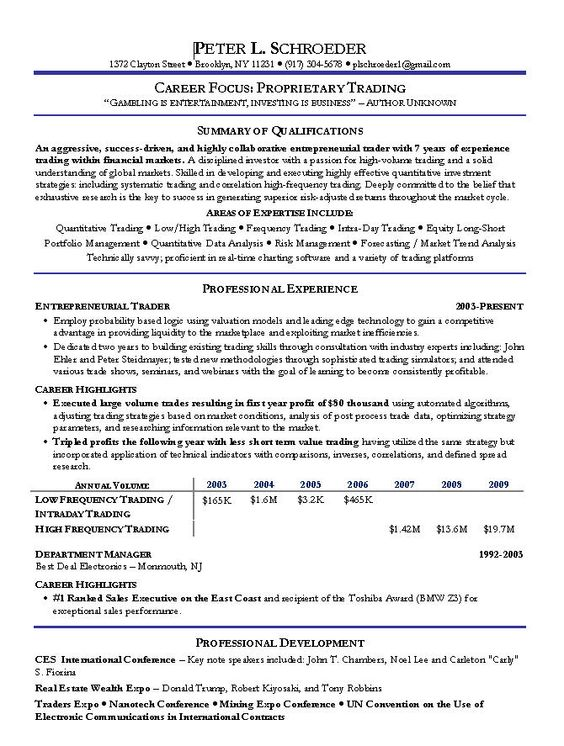 Proprietary Trading Resume Example - http\/\/wwwresumecareerinfo - sample traders resume