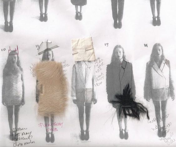 deconstructed fashion sketches with fabric
