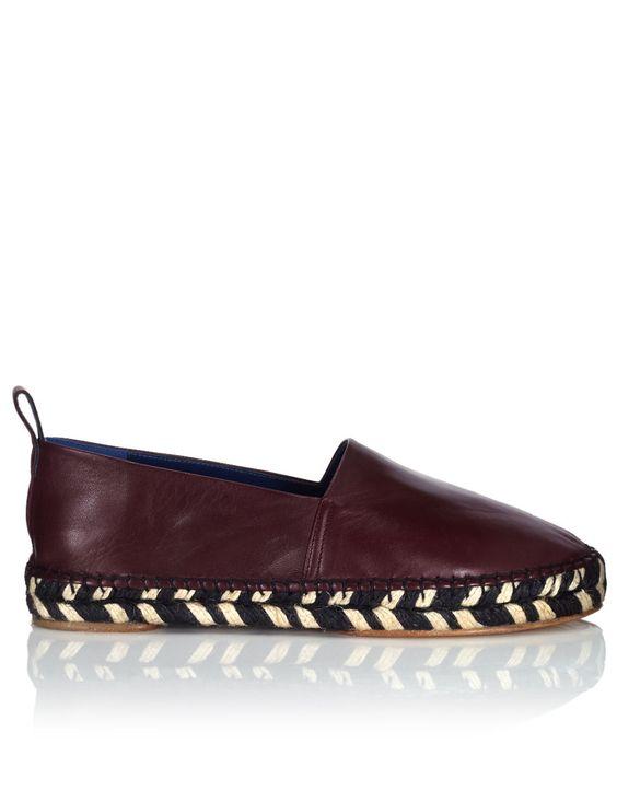 Burgundy Nappa Leather Espadrilles by Proenza Schouler | Avenue 32