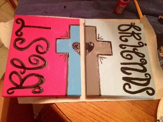 friend craft ideas best friend painting with cross and on 2 canvases 2052