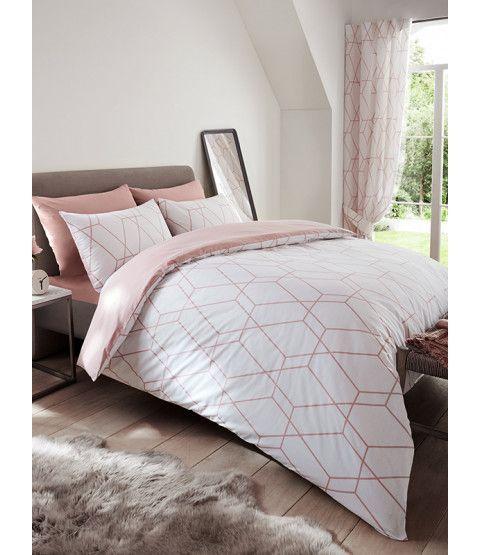 Metro Geometric Diamond King Size Duvet Cover Set Blush Bedroomsetwithdiamonds Duvet Cover Sets Geometric Bedding Pink Duvet Cover