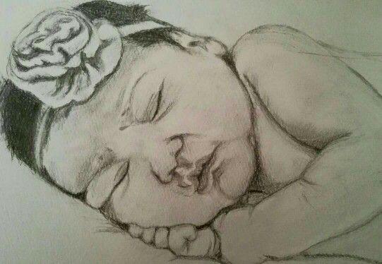 My baby girl rita#sleeping angel #pencil sketch #newborn - N3₩£ïf