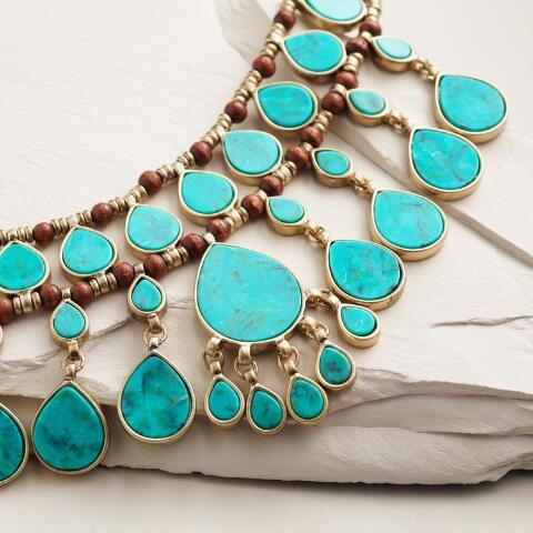 http://www.worldmarket.com/product/gold and turquoise layered teardrop statement necklace.do?