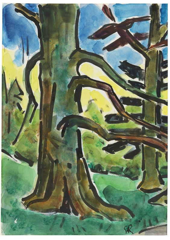 Karl Schmidt-Rottluff (German, 1884-1976),Waldstück [Forest], c.1955-60. Watercolour and India ink on wove paper, 49.5 x 35.5 cm.