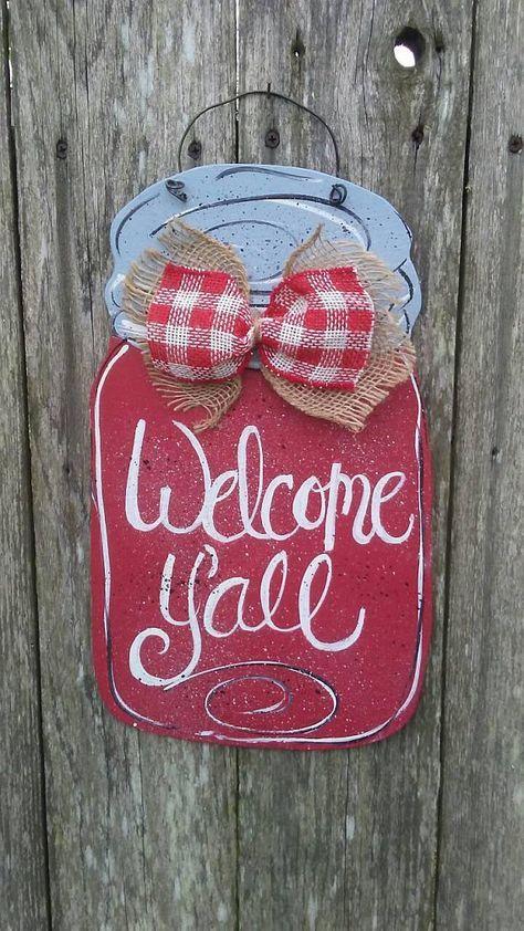 Mason Jar Door Hanger Door Hanger Red Mason Jar Welcome Etsy In 2020 Mason Jar Door Hanger Red Mason Jars Door Hangers