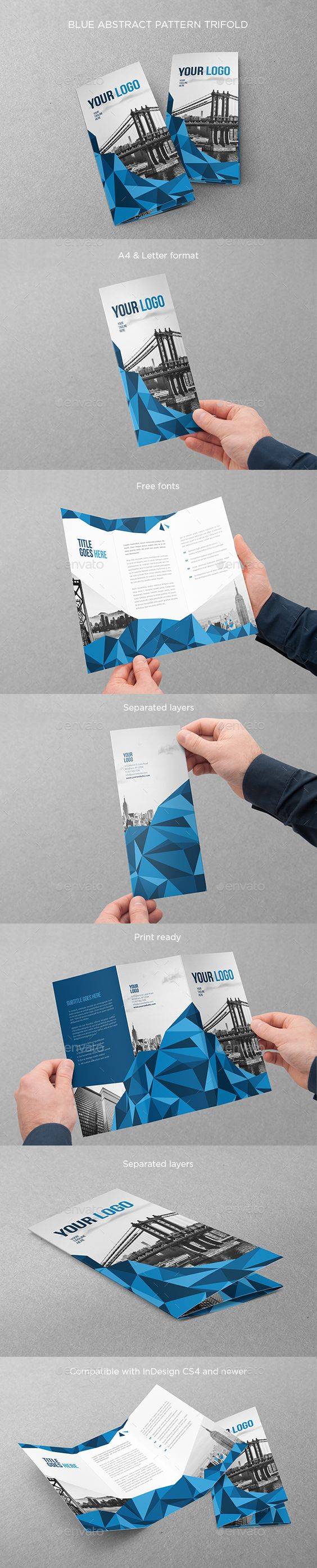 Blue Abstract Pattern Trifold - Brochures Print Templates