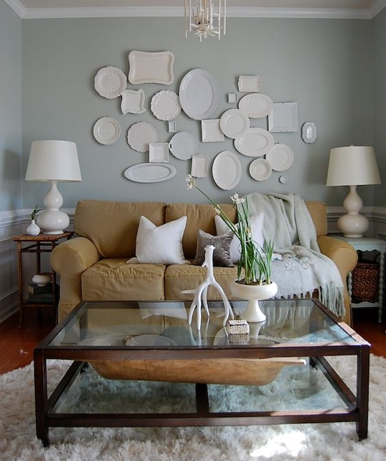 suzie the nester chic cozy living room with gray walls paint color white chair rail chic cozy living room furniture