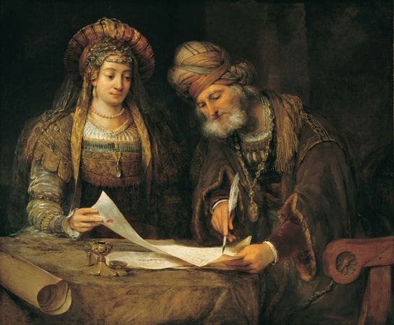 Mordecai Writing the First Purim Letter (c.1685). Arent de Gelder (Dutch, 1645-1727). Oil on canvas. Buenos Aires, Museo Nacional de Bellas Artes. Esther and Mordecai write the first letter of Purim. The Jewish inhabitants of the Persian king...