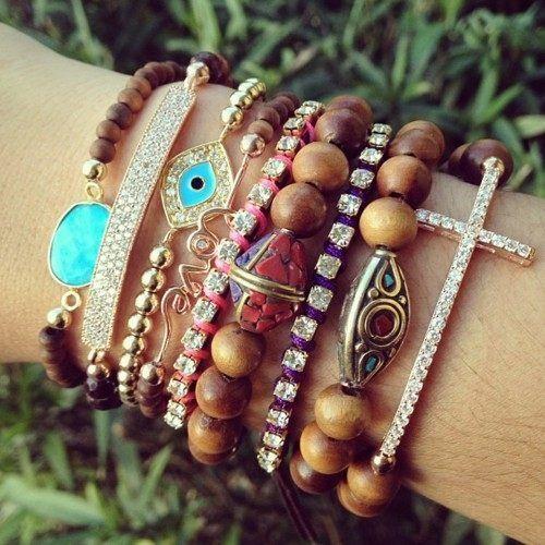 Wood bead stacks.