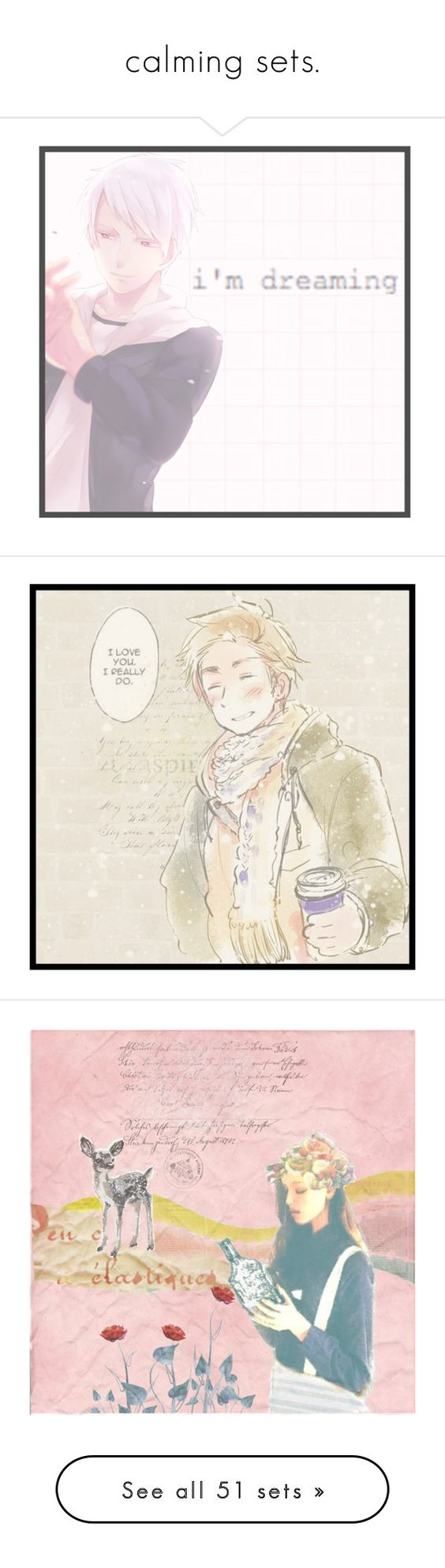 """""""calming sets."""" by akihabara ❤ liked on Polyvore featuring art, anime, pastel, Hetalia, Prussia, Christmas, denmark, country, highqueenbaesista and artset"""