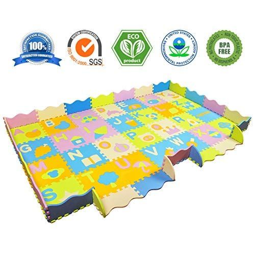 Aimerday Baby Puzzle Foam Play Mat With Fence Extra Large Thick Non Toxic Kids Playmat Interlocking Floor Tiles Alphabet Kids Playmat Baby Play Mat Tummy Time