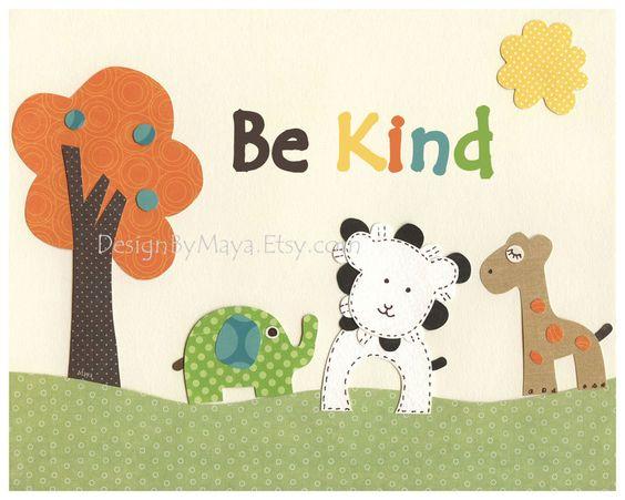 Baby room, Nursery wall art print, Baby Room Decor, giraffe, lion, elephant ...Be kind..Wildlife Friends. $17.00, via Etsy.
